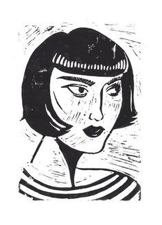 Chloe Linocut Illustration by Sarah Tanat-Jones, http://sarahtanatjones.com