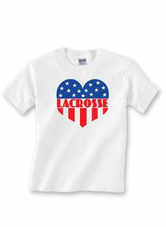 Lacrosse lovers! Get patriotic this 4th of July with our sport t-shirt!  Order online at www.sportskatz.com #LAX