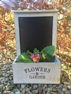 """This lovely rustic wooden garden box planter is also a handy black board. Lightweight high quality wooden garden accessory which. """"Flowers & plants"""". for plants or potted flowers.   eBay!"""