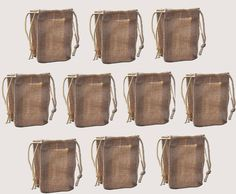 Pack of Ten Small Economy Jute Hessian Drawstring Gift Bag in Home, Furniture & DIY, Celebrations & Occasions, Gift Wrapping & Supplies   eBay 13cm. x 9.5cm - £9.95 for 10