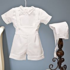 Mario Christening Romper Outfit with Cap - Boys Gowns & Outfits at Hayneedle...  LOVE. minus the bonnet.