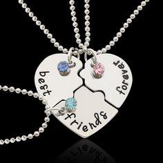 Best Friends Forever Puzzle Heart Necklaces 3pcs