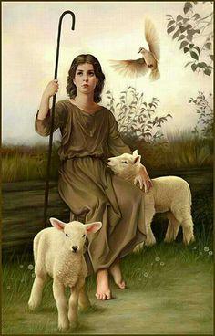Child Jesus taking good care of his lambs .