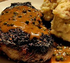 Steak Au Polvre Delicious Prime N. Steak slathered in mouth watering, pink, black & green bourbon peppercorn sauce! Steak Au Poivre, Peppercorn Sauce, Entrees, Stuffed Mushrooms, Pork, Beef, Pink Black, Bourbon, Recipes