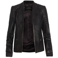 AllSaints Marin Leather Biker Jacket (1976275 PYG) ❤ liked on Polyvore featuring outerwear, jackets, leather jackets, coats, coats & jackets, black, vintage biker jacket, slim fit leather jacket, vintage jackets and slim fit jackets
