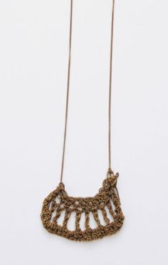 necklace with crocheted detail in ionized stainless steel by Arielle de Pinto