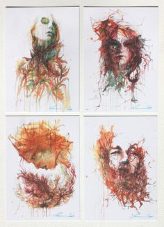 paintings in ink, tea, and alcohol by Carne Griffiths. SO freaking cool! Kodak Moment, Fountain Pen Ink, Film Books, Art Techniques, Photography Photos, Watercolor, Drawings, Artist, Charcoal