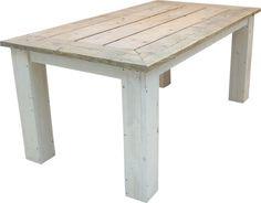Tafelblad van oud steigerhout en white-wash onderstel (13220131343)