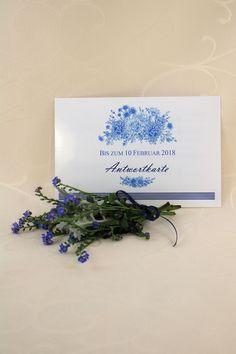 """Antwortkarte """"Fleur"""" - Damit Eure Gäste einfach und schnell auf Eure Einladung antworten können, legt ihnen eine Antwortkarte bei. Place Cards, Place Card Holders, February 10, Invitations, Simple"""