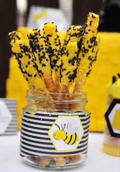 Chocolate covered pretzels at a Bumble Bee Birthday Party! See more party ideas at CatchMyParty.com!