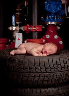 Newborn tire photo cute idea for mechanic daddy