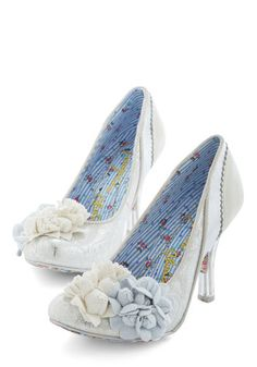 Ethereal Life Heel by Irregular Choice - Mid, Leather, White, Solid, Flower, Special Occasion, Prom, Wedding, Party, Bride, Best, Blue
