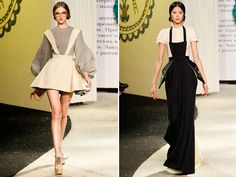 I love how flattering the black apron is on her waist! From the Ulyana Sergeenko Spring 2013 Collection found on Honestlywtf.com