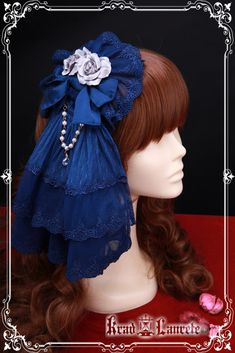Beautiful sweet blue lolita headbow with silver flower, featuring details oriented embroidery trim and bows, good for the phantom of the opera dressing .
