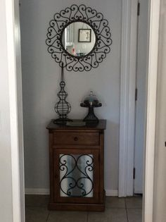 My re-designed entry way because of a $20 mirror bargain from a Craig's List seller