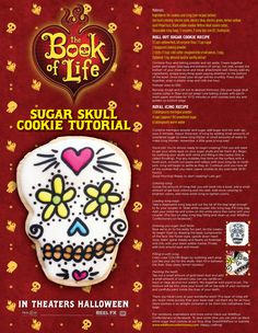 La Muerte is made of sugar and everything sweet. Indulge your own sweet tooth with these Day of the Dead sugar skull cookies inspired by The Book Of Life! Roll Out Sugar Cookies, Sugar Cookies Recipe, Halloween Cookies, Halloween Fun, Book Of Life, The Book, Day Of The Dead Party, Petal Dust, Yellow Foods