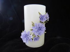 Candle with Lavender Cold Porcelain Flowers by doughroses on Etsy, $21.00