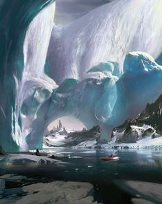 Ice-capped mountain by Ruxing Gao d'artiste Matte Painting Digital Artists Master Class Landscape Concept, Fantasy Landscape, Landscape Art, Landscape Paintings, Environment Concept Art, Environment Design, High Fantasy, Fantasy World, Fantasy Concept Art