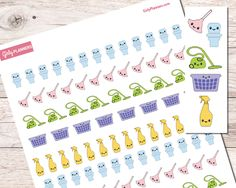 110 Kawaii Chore Printable Planner stickers for your planner or bullet journal!  Toilet/Bathroom Cleaning Dusting Vacuuming Spray Bottle (for general cleaning) Laundry