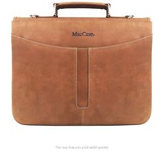 Rear view of the new MacCase Premium Leather iPad Pro 12.9 Briefcase is highlighted by the recessed center stripe and rugged handle. See more of this exciting new design at -   https://www.mac-case.com/collections/leather-briefcases-s/products/leather-ipad-pro-briefcase
