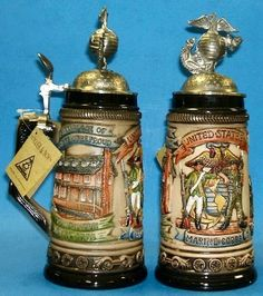 Beautiful beer steins Handcrafted in Germany by Zoeller & Born. Shop now and enjoy your beer with style. German Beer Steins, Gung Ho, Marine Corps, Drinking, United States, Mugs, Marines, Germany, Military
