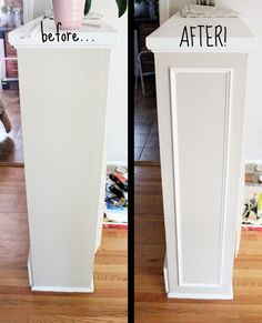 Add simple molding to built-ins for a refined, custom look. Very clever idea!