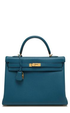 Vintage Herms 35Cm Blue De Galice Togo Leather Retourne Kelly by Heritage Auctions Special Collections for Preorder on Moda Operandi