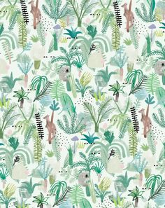 One of my favorite ever Min Pin Illustrations the Fern Gully print , uploaded by… Surface Pattern Design, Pattern Art, Textile Patterns, Print Patterns, Graphic Patterns, Textiles, Fern Gully, Little Designs, Art Moderne