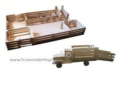 Wooden Toy Stockyard WITHOUT Loft and Truck with Ramp GIFT SET