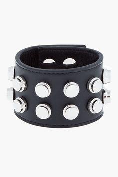 SAINT LAURENT Black leather flat studded Unisex cuff