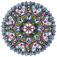 """Mandala - exécuté à l'aide de stylos et crayons de couleur - Titre : """"Le mandala du 13 Janvier"""" (13th January Mandala) / Auteur : Artwyrd / Source : Devian Art /"""