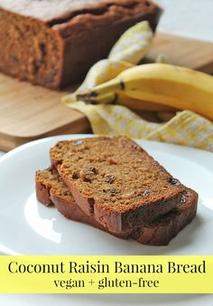 Take a break from plain old banana bread and shake things up with this quick and easy vegan gluten-free coconut raisin banana bread!