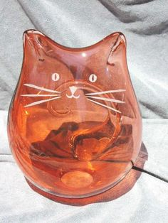 Salmon Blown Hollow Cat by GlassCatsStudios on Etsy, $92.00