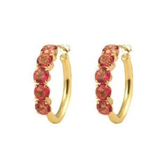 14K Yellow Gold Pink Topaz Hoop Earrings Available Exclusively at Gemologica.com