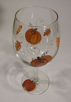 Hand Painted Fall Pumpkin, Leaves and Swirls Wine Glass