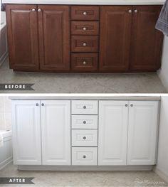 24 Ideas Dark Wood Tile Bathroom White Cabinets For 2019 Dark Wood Bathroom, Painting Bathroom Cabinets, White Bathroom Cabinets, Dark Wood Cabinets, White Vanity Bathroom, Bathroom Countertops, Diy Cabinets, White Cabinets, Master Bathroom