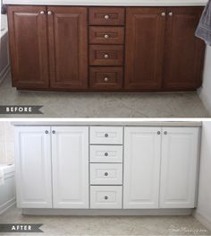 How to paint cabinets without removing doors using one can - before and after pictures