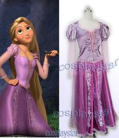 Disney Movie Game Tangled Rapunzel Cosplay Costume Purple Dress | eBay