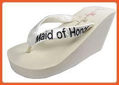 Wedding Flip Flops Maid of Honor Bridesmaid Bridal Flip Flops Bride Bling Glitter Wedge Wedding Platform Sandals Satin Flip Flops Shoes 10 M US - Sandals for women (*Amazon Partner-Link)