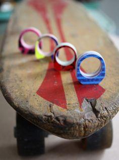 Recycled Skateboard Bling Bling Custom Ring by sevenply on Etsy, $22.00