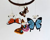 Woodland butterfly baby mobile made from 100% wool felt. Nusery, baby shower, christening. $89.00
