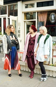 These night life denizens are unafraid to clash prints or go for it with an oversize headdress. So we asked the threesome, who, with two other friends, are a part of a female art collective called Conversations, to put together a few party-going looks reflective of their signature styles. (Photo: Clement Pascal for The New York Times)