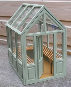 1 12 Scale Dolls House Miniature Flat Pack Unpainted Greenhouse Accessory BM | eBay