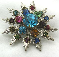 Vintage Silver Snowflake Brooch by JazzitUpwithDesigns on Etsy
