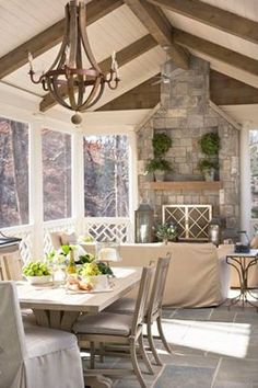 Back porch ideas. Outdoor fireplace. Stone wall pattern for behind stove