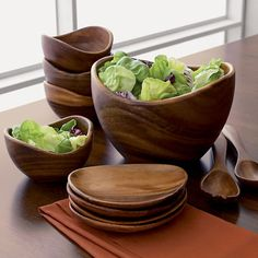 "Acacia 6""-10"" Salad Bowls and Acacia 12"" Salad Servers in Serving Bowls | Crate and Barrel"