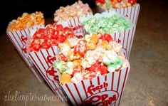 Homemade Gourmet Popcorn - Make any flavor/color - awesome for party favors and treats!