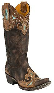 Old Gringo® Ladies Taka Distressed Dark Brown w/Turquoise  WEDDING BOOTS!