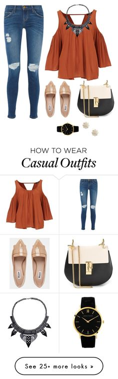 """Casual Brownie"" by magdalenasonya on Polyvore featuring Current/Elliott, Dune, Chloé, Larsson & Jennings and Sole Society"