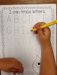 Beginning of the Year Kindergarten Assessments- He likes to trace big letters, we'll start with half sheet size and work down from there. - For Calvin.